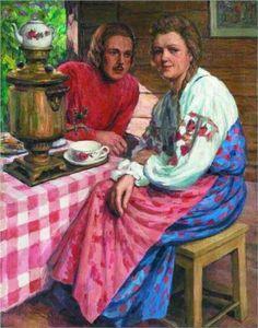 Tea-Drinking - Nikolay Bogdanov-Belsky, 190/203.