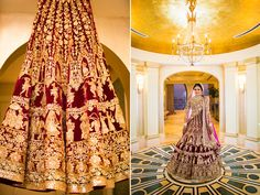 A Purple-Wine Lehenga with Gold work by Manish Malhotra for Real Bride Devangi Nishar of WeddingSutra.
