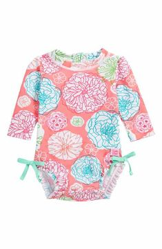 RuffleButts Tropical Garden One-Piece Rashguard (Baby Girls)