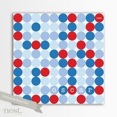 """Polka Dots Stretched Canvas 12x12"""" Print - by nestaccessories on madeit"""