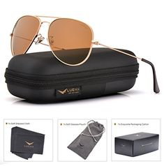 b58f6229527 LUENX Womens Mens Aviator Sunglasses Polarized Brown Amber Lenses Gold  Metal Frame UV400 Protection Classic Style
