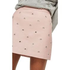 Women's Topshop Grommet Faux Leather Skirt ($65) ❤ liked on Polyvore featuring skirts, mini skirts, blush, topshop mini skirt, pink faux leather skirt, faux leather skirt and leather look mini skirt