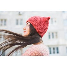 Knit Sale! Coral Chunky Hat Beanie Cap with ears Wool Hat with a braid... (€27) ❤ liked on Polyvore featuring accessories, hats, cat hat, red knit hat, red beanie, red hat and cat ear hat