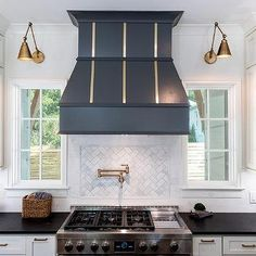 Kitchen Lights Remodeling Kitchen Window I love when builders incorporate windows on either side of the range/range hood Kitchen Window Kitchen Window Coverings, Kitchen Window Treatments, Kitchen Hoods, Kitchen Backsplash, Kitchen Cabinets, Kitchen Paint, Kitchen Cupboard, Backsplash Ideas, White Cabinets