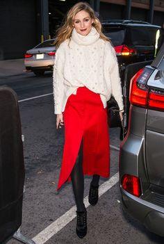 Jupe rouge Street style fashion week New York 2017