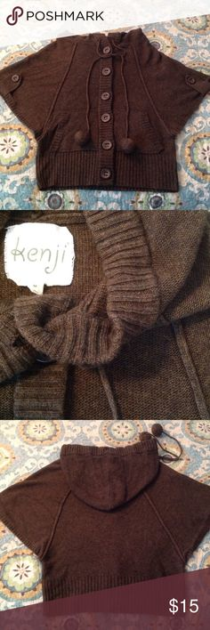 🌻Cute sweater/vest! Kenji brown hooded button front sweater, dolman style sleeves, kangaroo pockets, 70% acrylic/30% lambswool, machine wash, not itchy, needs some stitching (see last pic) at bottom of pocket, size M, gently worn! Anthropologie Sweaters