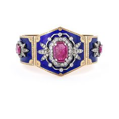 Victorian Ruby, Diamond and Enamel Cuff Bracelet ($27,000) ❤ liked on Polyvore featuring jewelry, bracelets, accessories, blue, cuff, blue diamond jewelry, cuff bracelet, cuff jewelry, cuff bangle and diamond jewelry