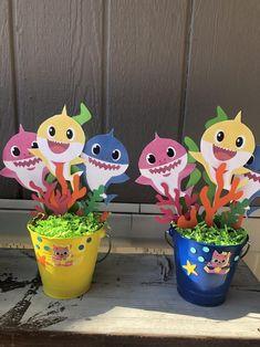 Baby Shark Bucket Centerpieces price per Bucket Shark Birthday Cakes, Baby Boy 1st Birthday Party, Monster Birthday Parties, Shark Party Decorations, Birthday Party Decorations, Backyard Birthday, Baby Shark, Leo, Diys