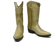 MEN'S ORIX TAN LEATHER BELLY CROCODILE ALLIGATOR Belly Cut COWBOY BOOTS
