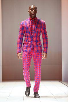 Menswear London Fashion Week #plaid #suit #redandblue