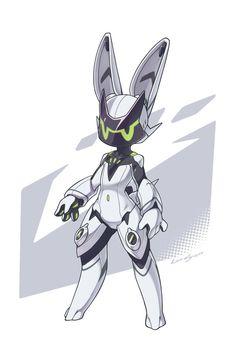 Rabbit Hero by LordYanYu on DeviantArt Robots Characters, Cute Characters, Anime Characters, Character Creation, Character Concept, Character Art, Animal Robot, Arte Cyberpunk, Arte Robot