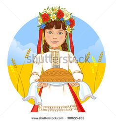 Cute girl in ukrainian traditional clothes with round loaf, vector image, eps10 - stock vector