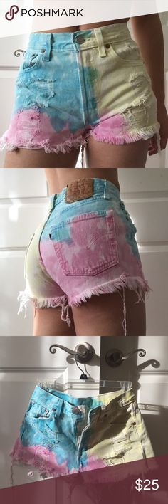 High waisted colored shorts Price negotiable! Never worn, bought on sale and now they're too small. Festival and vintage style tie dye in pink yellow and blue. Frayed edges and rips and distressing were all designed, not diy. Levi's brand and bought at urban outfitters Urban Outfitters Jeans