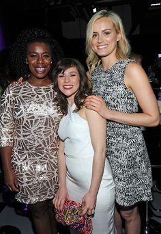 """Uzo Aduba, Yael Stone and Taylor Schilling at """"PaleyFest 2014 Orange Is the New Black"""", held at the Dolby Theatre in Los Angeles on March 14, 2014."""