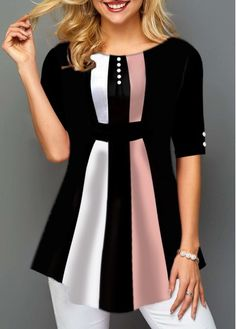 Tops For Women Button Detail Color Block Curved Hem Blouse Long Vest Outfit, Vest Outfits, Mode Outfits, Trendy Tops For Women, Stylish Tops, Blouses For Women, 70s Fashion, Trendy Fashion, Plus Size Fashion