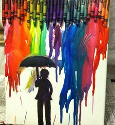 Crayon melting art - hot glue crayolas to the top of a canvas or board. Set upright in hot sun for an hour or use a hairdryers to speed the process. Cover area around painting, as melted wax will fly a bit.