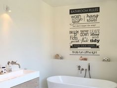 Buy this quality bathroom rules wall sticker decal. These bathroom decals are easy to apply, removable and will look stunning in any home