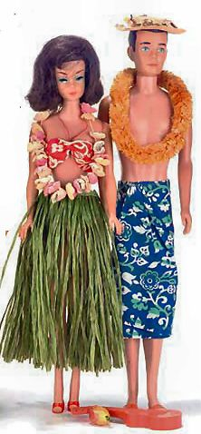 Vintage Barbie In Hawaii  #1605 (1964)     Red Floral 2 Piece Swimsuit   Grass Skirt  Flower Lei  Wrist Lei  Pineapple  Travel Pamphlet