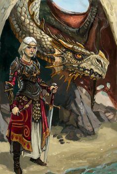 Visenya Targaryen, her dragon Vhagar, and her sword, Dark Sister.