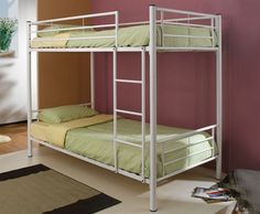 White finish metal twin over twin bunk bed set - A. Bunk Bed Sets, Bunk Beds For Boys Room, White Bunk Beds, Modern Bunk Beds, Metal Bunk Beds, Bunk Beds With Stairs, Cool Bunk Beds, Twin Bunk Beds, Twin Twin