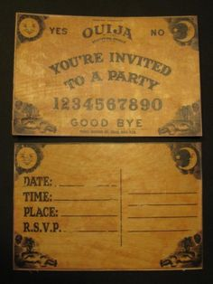 Ouija Party Invitations for Halloween. Printable templates, and she transferred these to actual wood to make miniature boards using Con-Tact paper and a laser printer. Hope I don't get possessed on accident. Halloween 2018, Halloween Birthday, Holidays Halloween, Scary Halloween, Halloween Crafts, Happy Halloween, Halloween Decorations, Halloween Printable, Halloween Labels