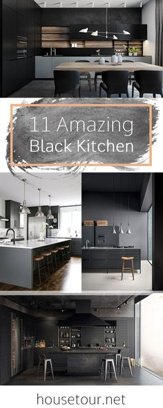 Minimalist kitchen Black - 11 Amazing Black Kitchen Designs That Will Make Your Kitchen Elegant. Kitchen Cabinet Design, Interior Design Living Room, Kitchen Shelves, Kitchen Backsplash, Kitchen Sink, Kitchen Cabinets, Minimalist Home Decor, Minimalist Kitchen, Küchen Design