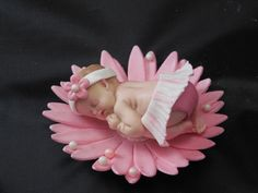 Pink fondant baby shower cake topper. Pink tutu baby and flower cupcake decorations topper baby girl shower favor