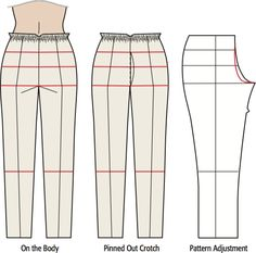 Pants Fitting: Determine Your Crotch Curve with a Pants Fitting Muslin - Sew Daily Learn what those draglines means on your pants fitting muslin. Determine your unique crotch curve and translate muslin changes to final pants pattern alterations. Sewing Projects For Beginners, Sewing Tutorials, Sewing Patterns, Sewing Tips, Shirt Patterns, Sewing Lessons, Clothes Patterns, Dress Patterns, Sewing Pants