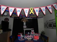 Instructions to make your own pennant WELCOME HOME banner. #DIY #deployment #banner www.operationwearehere.com/craftssewingetc.html