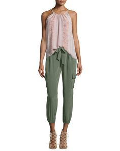 Joie  Heze Multi-Print Sleeveless Top Aliza Vintage-Wash Silk Pants. $New Joie Pants. Regular Price $228, See New offer At: shop. newofferclothing.com<<< #Joie-Pants Silk Pants, Harem Pants, Joie Clothing, New Fashion, Womens Fashion, Neiman Marcus, Paisley, Sweatpants, Clothes