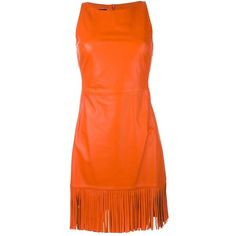 Boutique Moschino fringed fitted dress (49.240 RUB) ❤ liked on Polyvore featuring dresses, orange, orange dress, fitted dresses, fringe dress and tight dresses