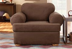 Sure Fit Slipcovers Stretch Suede Separate Seat T-Cushion - Chair T-cushion