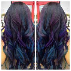 38 Fabulous Rainbow Hair Color Ideas ~ officee - New Site Hair Color Purple, Cool Hair Color, Oil Slick Hair Color, Baby Pink Hair, Pinterest Hair, Mermaid Hair, Rainbow Hair, Hair Looks, Dyed Hair
