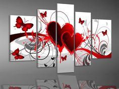 Five piece, red heart & butterfly abstract canvas paintings  ...from Google Images