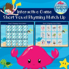 Rhyming match for short vowel words! Rhyming Games, Rhyming Words, The New School, New School Year, Short Vowels, Classroom Games, Back To School Activities, Memory Games, Kindergarten Reading