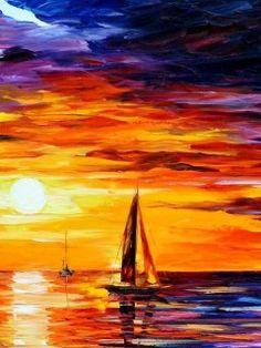 watercolor sunset   Download mobile wallpaper: Art, Sunset, Paintings, Sea, Sky, Landscape ...