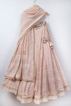 Where To Buy Chikankari Lehenga From? + Prices Love this blush pink Chikankari lehenga by Anjul Bhandari. Indian Lehenga, Indian Gowns, Indian Attire, Indian Wear, Lehenga Choli, Sabyasachi, Sharara, Pakistani, Indian Bridal Outfits