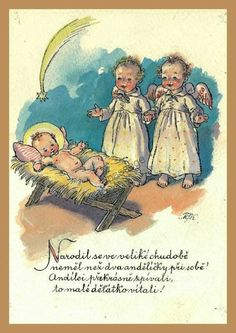 Old Czech Christmas Card Russian Folk Art, Christmas Cards, Christmas Postcards, Czech Republic, Tween, Mario, Infant, Baby Boy, Seasons