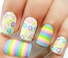 Colorful nails. Pastel colors. Flowers and stripes.