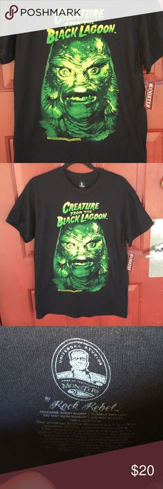 Licensed Creature from the Black Lagoon Tee Men's fit shirt, size Medium. Print is colorful and hand screen printed, and won't crack in the wash. Fits true to size.   - goth , horror , horror movies , shape of water , Gillman , monster , punk , rockabilly , Halloween , spooky , fun - Rock Rebel Shirts Tees - Short Sleeve