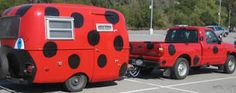 I think my PT Cruiser would look good as a lady bug Little Campers, Cool Campers, Happy Campers, Rv Campers, San Antonio, Vintage Travel Trailers, Vintage Campers, Pt Cruiser, Gypsy Wagon