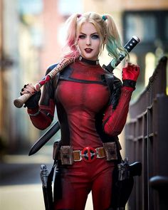 ✨💖Jessica: Maid Of Might 💖✨ Lady Deadpool Injustice 2, Amazing Cosplay, Best Cosplay, Ford 56, Lady Deadpool, Marvel Cosplay, Deadpool Cosplay, Harley Quinn Cosplay, Comics Girls