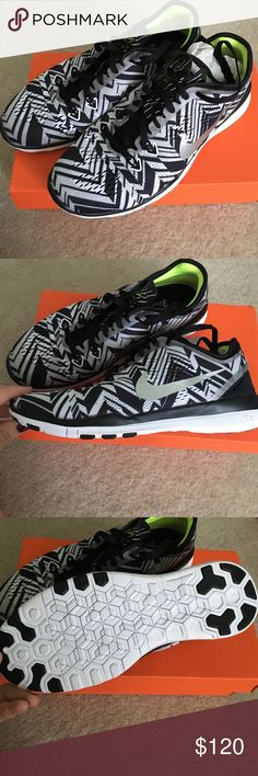 Women's Nike Free 5.0 Flyknit in Black/Gray/Silver New in box. Discontinued color; metallic silver swoosh. I'm a brand new Mama looking to make space in my home and extra cash for diapers. No trades, please. Thanks for taking a look! Nike Shoes Athletic Shoes