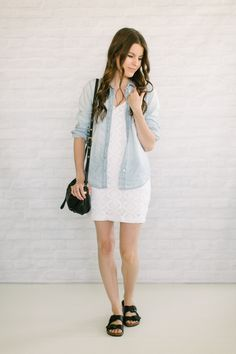 Casual look: white lace dress + chambray + sandals instead of Birkenstocks
