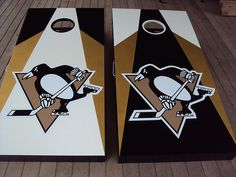 Pittsburgh Penguins cornhole boards, I need a set of these! :) I love cornhole. Pittsburgh Sports, Pittsburgh Penguins Hockey, Steelers Football, Nhl Penguins, Pens Hockey, Hockey Teams, Sports Teams, Cornhole Set, Cornhole Boards