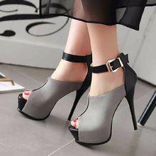 Más Colores de la Mujer Zapato con Cierre de Hebilla Peep Toe zapatos Gruesos Zapatos de Plataforma Sexy Zapatos de Tacón Fino Banquete de Boda de Verano bombas(China (Mainland))