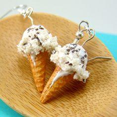 Ice Cream Earrings // Chocolate Chip Ice Cream Food Jewelry // MADE TO ORDER Miniature Food Earrings