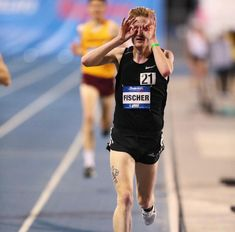 Can you spot that Marching Spike tattoo on Fischer raced to his third straight victory in the men's 5000 to wrap up the Thursday session, becoming just the second runner to win the race three years in a row. Drake Relays, Drake University, Victorious, The Man, Thursday, Third, Two By Two, Sporty, Racing