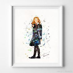 Hermione Granger, Harry Potter Watercolor Wall Art Print. Prices from $9.95. Available at InkistPrints.com - #harrypotter #watercolor #harrypottertheme #harrypotterfan #homedecoration #HermioneGranger