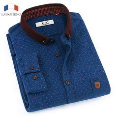 48ec057c3a6 LANGMENG Men s Dress Shirt Brand 2017 Mens Slim Fit Classical Long Sleeve  Fashion Men Casual Shirts